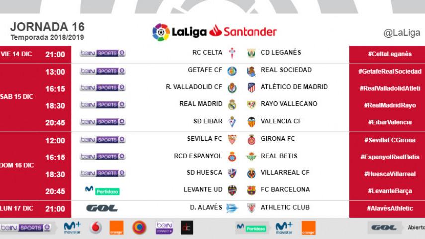 Horarios de la jornada 16 de LaLiga Santander 2018/19