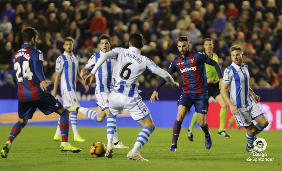 La Real Sociedad defiende un ataque del Levante (Foto: LaLiga).
