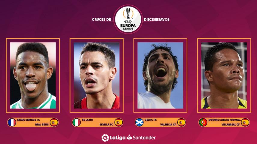 Estos son los rivales del R. Betis, Villarreal CF, Sevilla FC y Valencia CF en los dieciseisavos de final de la Europa League