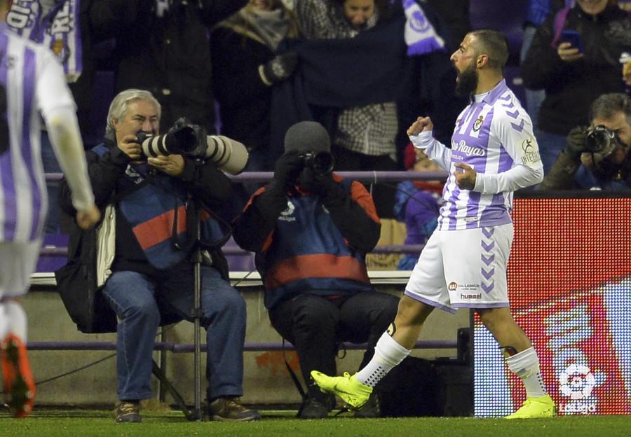 Daniele Verde celebra su gol al Mallorca en Zorrilla (Foto: LaLiga).