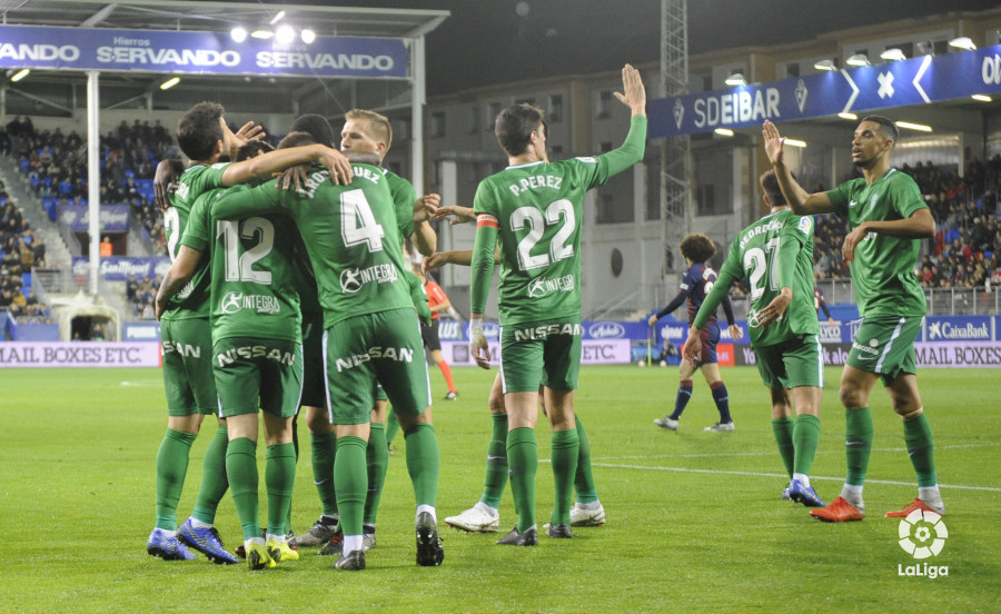 Celebración de uno de los goles del Sporting ante el Éibar (Foto:LaLiga).