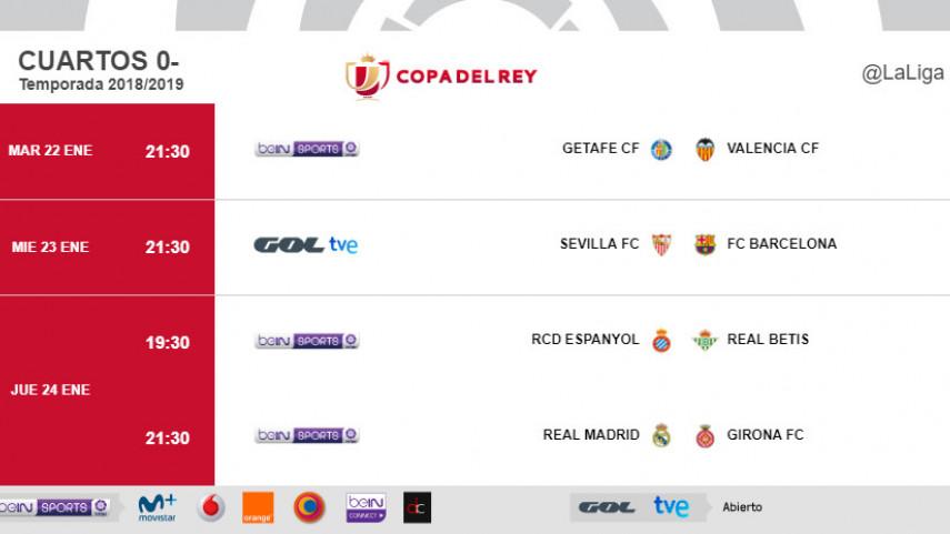 Horarios de la ida de los cuartos de final de Copa del Rey