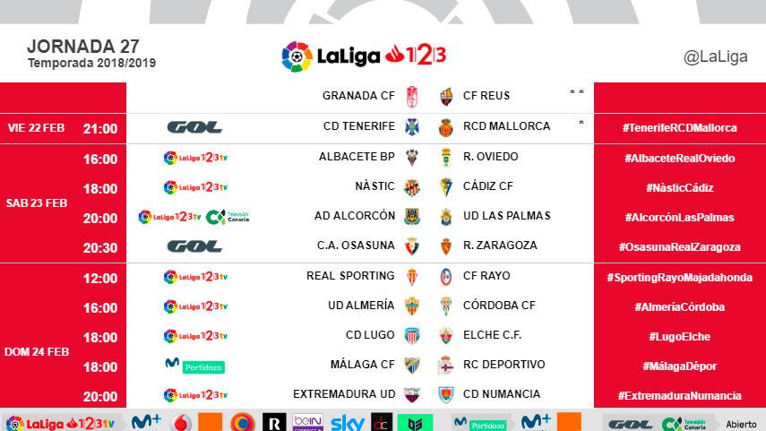 Horarios de la jornada 27 de LaLiga 1l2l3 2018/19