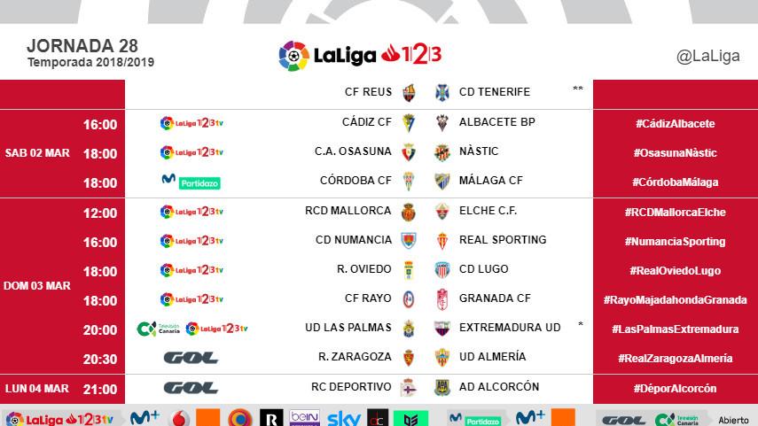 Horarios de la jornada 28 de LaLiga 1l2l3 2018/19