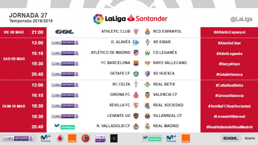 Horarios de la jornada 27 de LaLiga Santander 2018/19