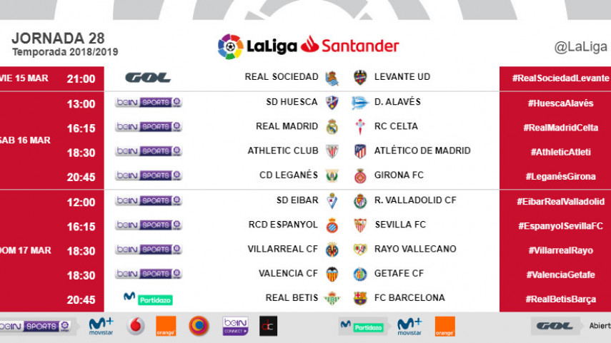 Horarios de la jornada 28 de LaLiga Santander 2018/19
