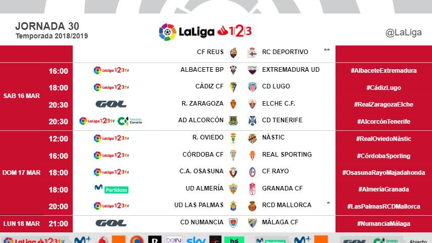 Horarios de la jornada 30 de LaLiga 1l2l3 2018/19