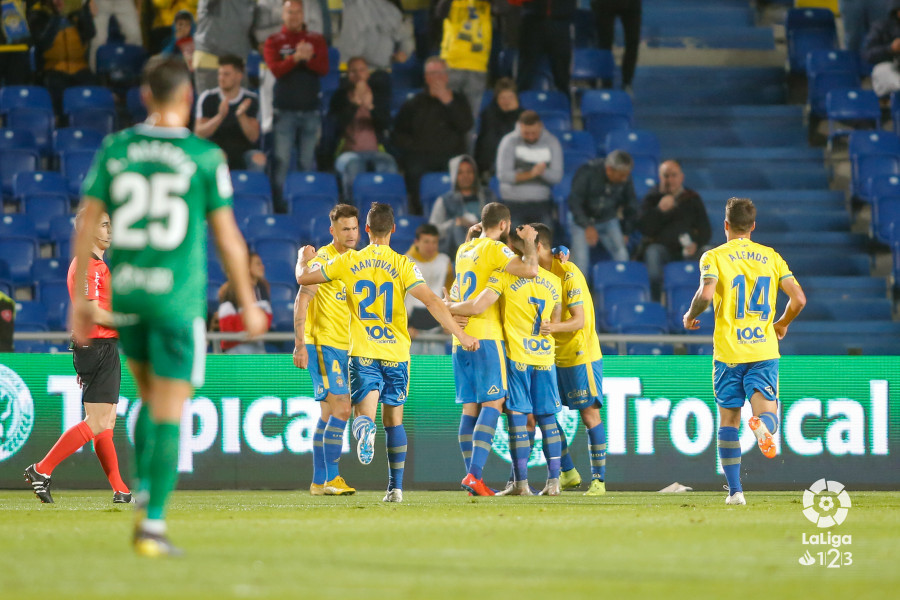 Los jugadores de Las Palmas celebran su tanto ante el Sporting (Foto: LaLiga).