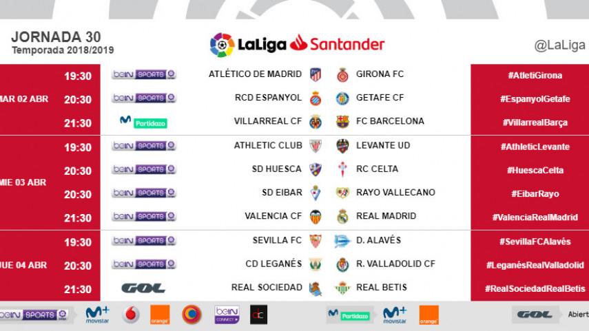 Horarios de la jornada 30 de LaLiga Santander 2018/19