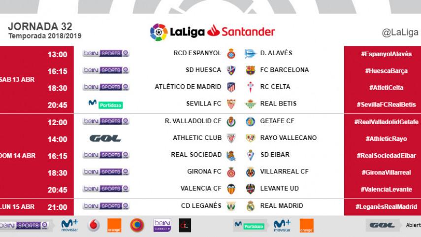 Horarios de la jornada 32 de LaLiga Santander 2018/19