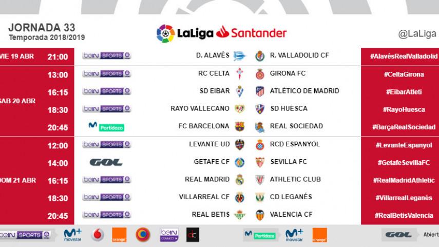 Horarios de la jornada 33 de LaLiga Santander 2018/19