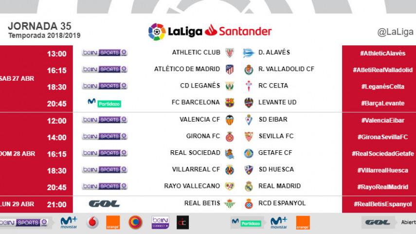 Horarios de la jornada 35 de LaLiga Santander 2018/19