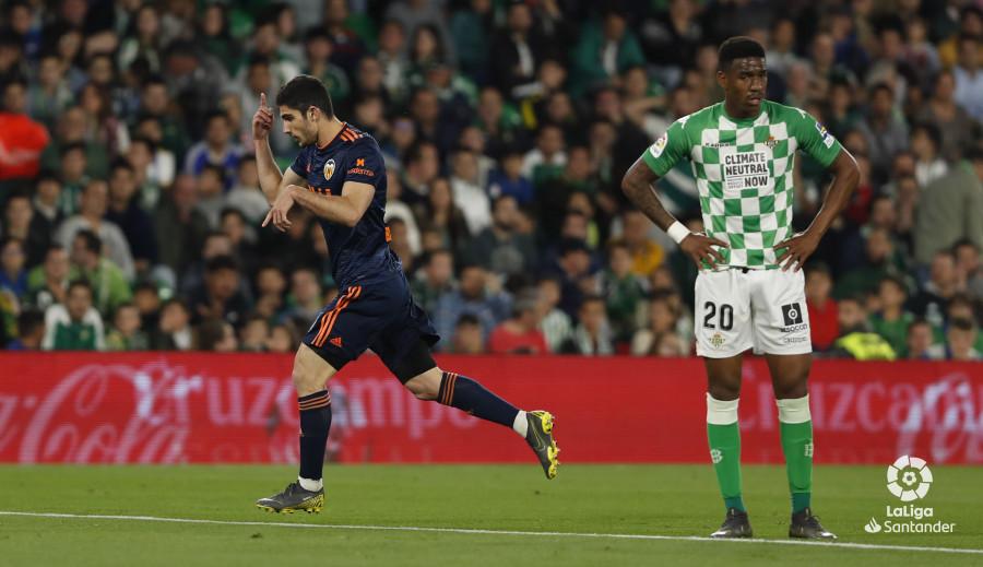 Guedes festeja su primer gol en el Villamarín (Foto: LaLiga).