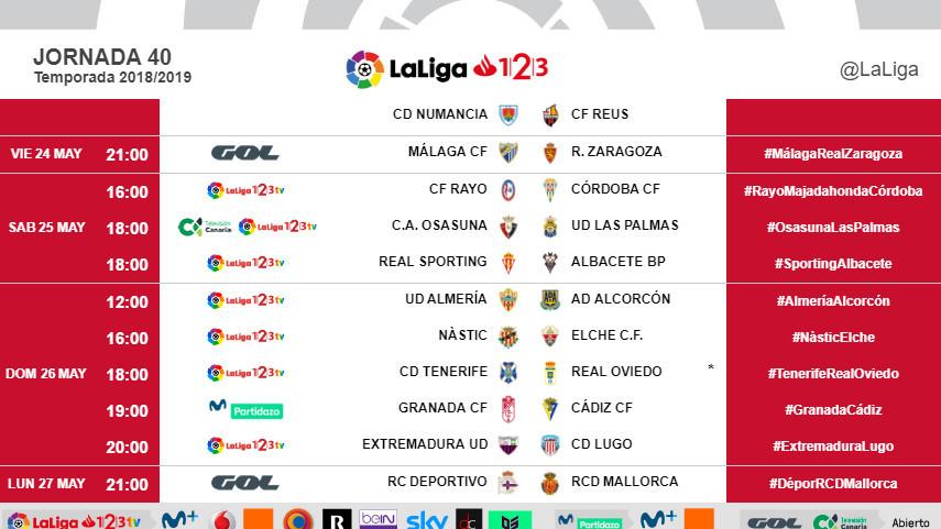 Horarios de la jornada 40 de LaLiga 1l2l3 2018/19