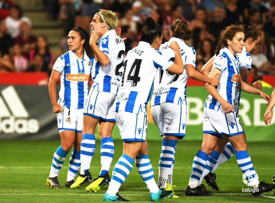 Las jugadoras de la Real celebran el segundo gol (Foto: LaLiga).