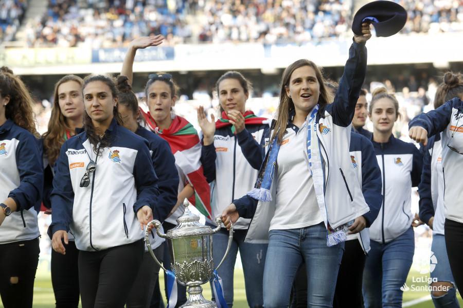 Sandra Ramajo, en la celebración de la Copa de la Reina en Anoeta (Foto: LaLiga).