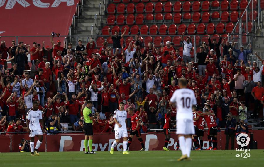 La afición del Mallorca, en el duelo de ida ante el Albacete (Foto: LaLiga).
