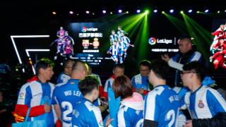 Barcelona derby Shanghai event. LaLiga Barcelona derby fans in Shanghai